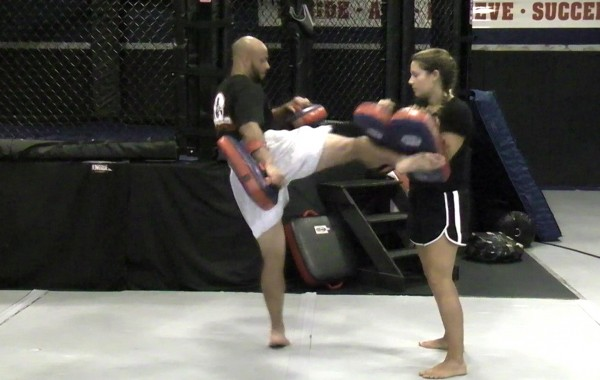 Muay Thai Dual Pad Kick Training Drill: Double Kicks