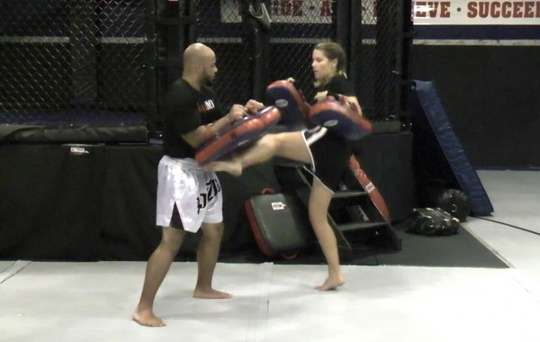 Muay Thai Dual Pad Kick Training Drill: Descending Kicks